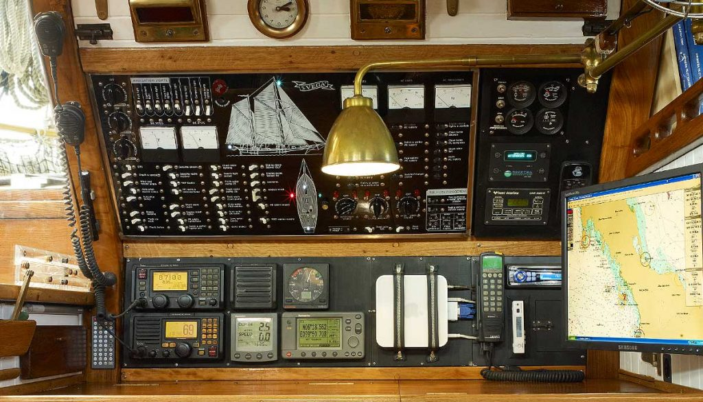 Vega's state of the art navigation station is the nerve centre of the boat. Her marine electrical panel was built using all commercial aircraft components and to aircraft standards far exceeding those set by maritime classification societies.