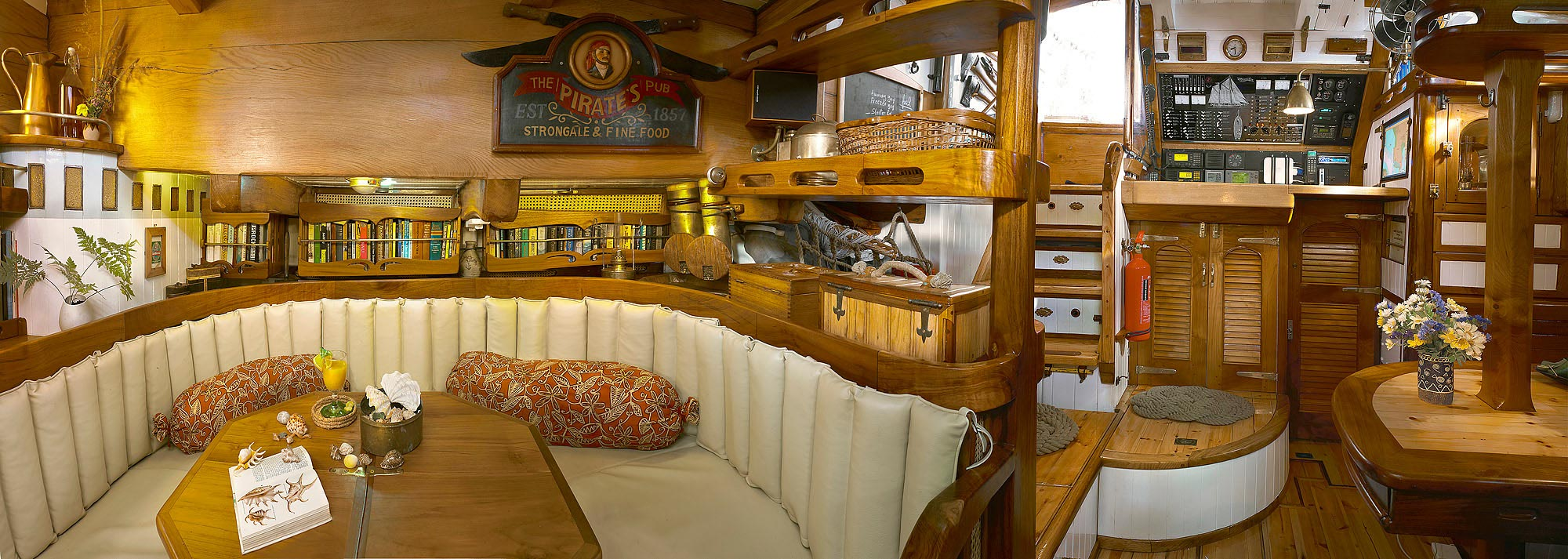 Historic Vessel Vega - salon and navigation areas are both spacious and functional blending modern high tech with 1800's style and grace.