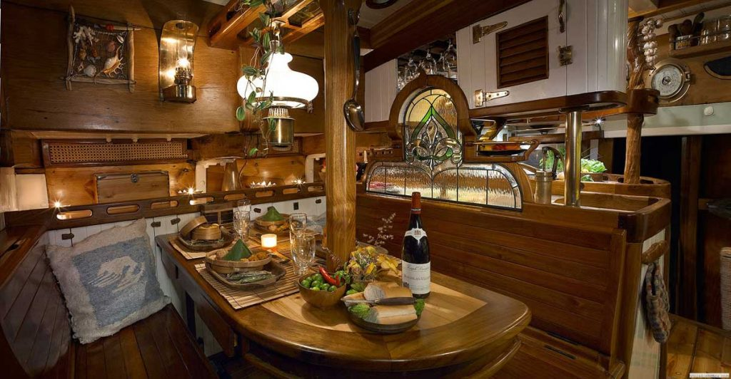 The Dinning area and galley are rich in details and period antiques. Few historical vessels can boast such comfort in a space once dedicated to cargo under sail.