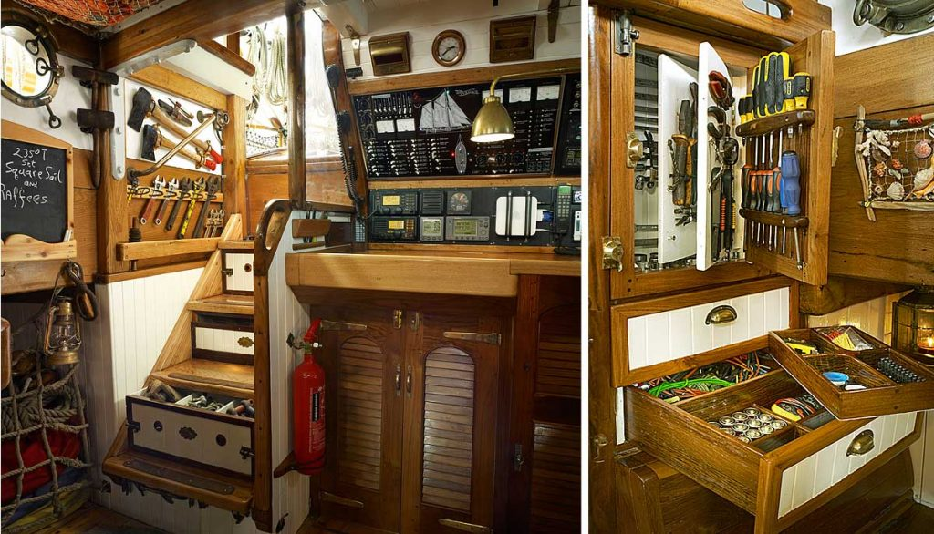 Tool and rigging storage is always a problem for historical sailing boats. There is no wasted space on Vega and everything is right at hand.