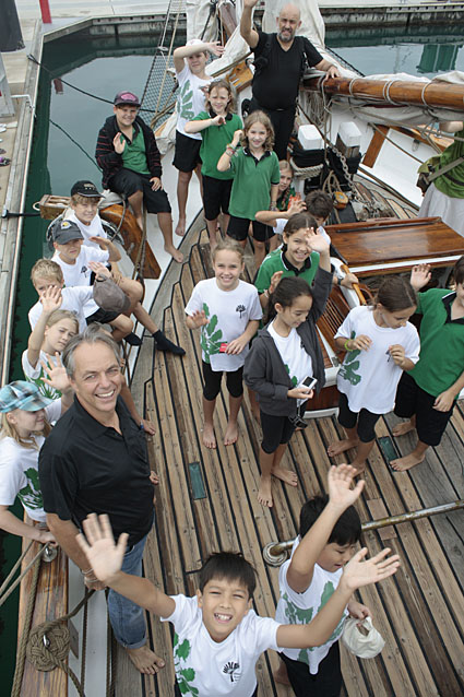 Singapore German International School students deliver their Kits 4 Kids bags to the Historic vessel Vega