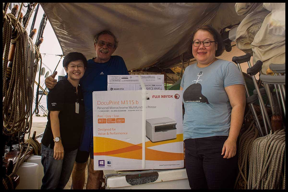 June and Rachel from Pamarine deliver a new heavy-duty printer for the island of Medang. We also want to thank the company for our new liferaft and other safety equipment.