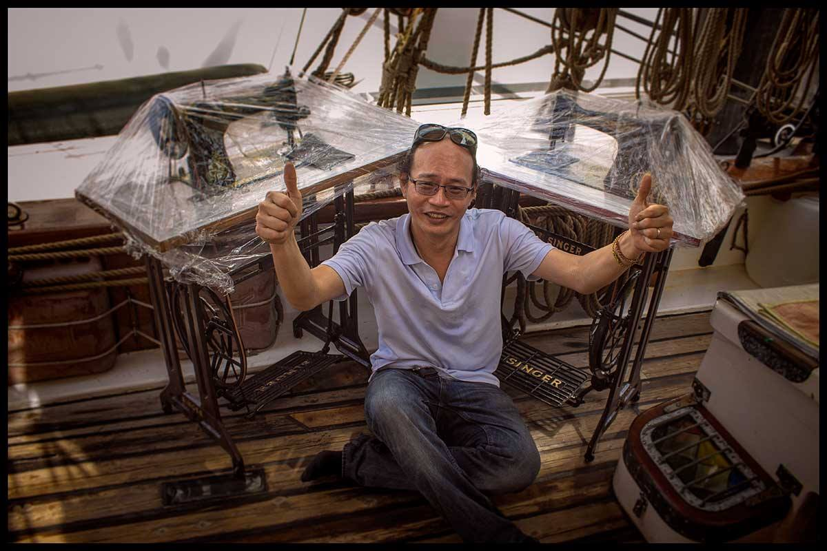 Long time friend and supporter Nicolas Ho and another great friend Goh Shin Ping who located these two wonderful foot operated sewing machines.
