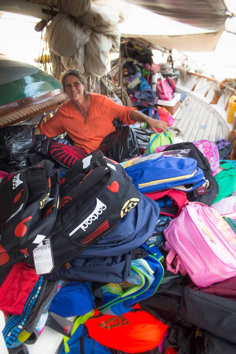 Somehow they all made it inside. That makes almost 1,000 Kits 4 Kids bags we have onboard now.