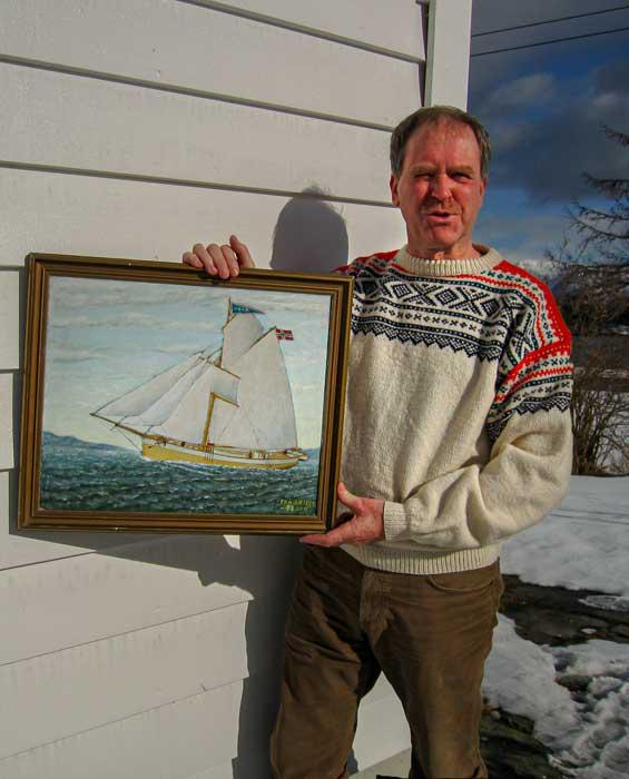 Lars Nerhus displays 1898 painting of historic vessel Vega