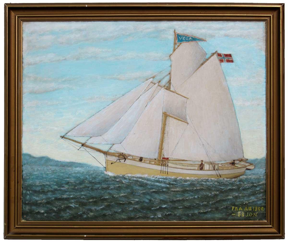Painting of Historic Vessel Vega in 1899